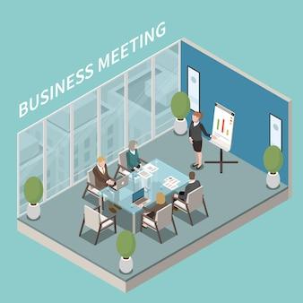 Kompozycja izometryczna prezentacji biznesowej w małej sali konferencyjnej z mówcą i uczestnikami przy szklanym kwadratowym stole