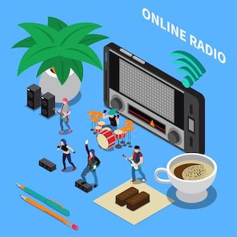 Kompozycja izometryczna radia internetowego z odbiornikiem radiowym dostrojonym do fali muzycznej i zespołem wykonującym popularne piosenki
