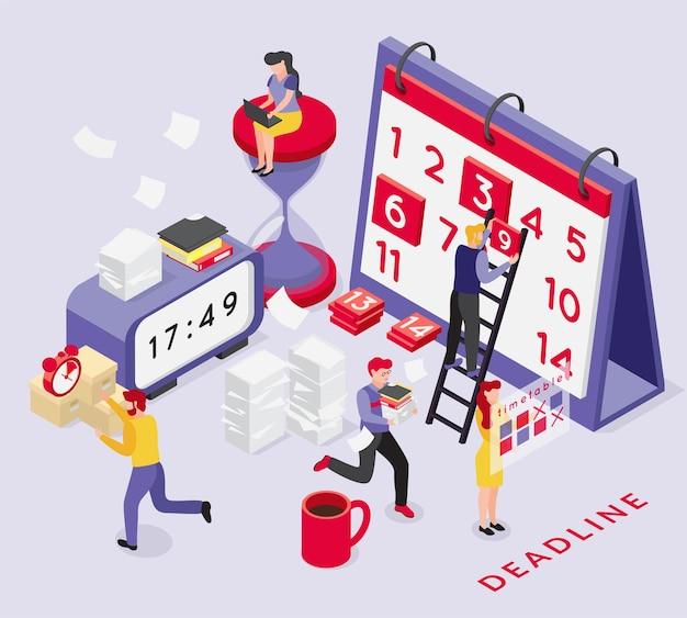 Kompozycja izometryczna terminu z koncepcyjnymi obrazami zegarów kalendarza i biegnących ludzi z tekstem i cieniami