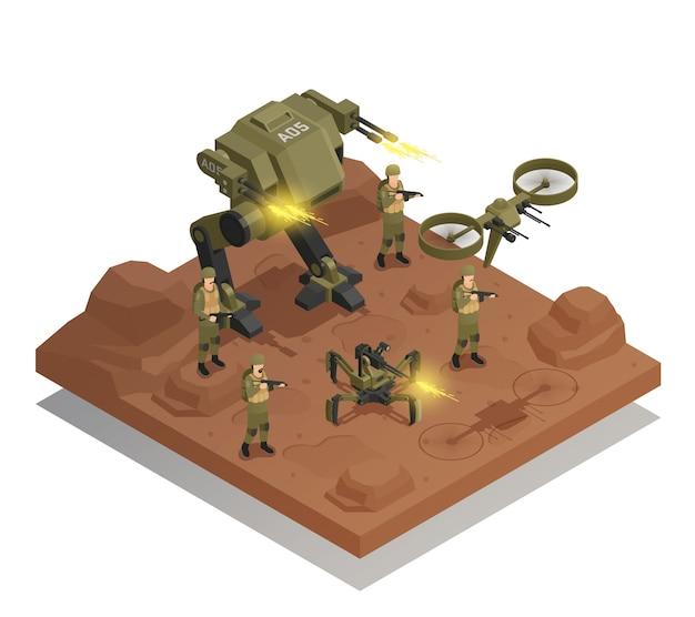 Kompozycja izometryczna walczących robotów