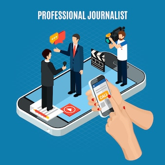 Kompozycja izometryczna wideo ze zdjęciami z postaciami kamerzysty i dziennikarza na ekranie smartfona
