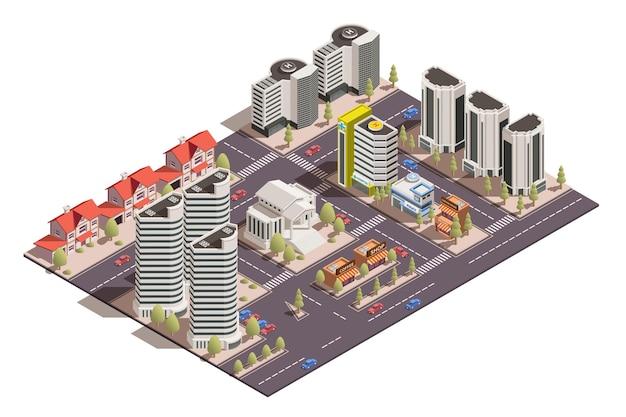 Kompozycja izometryczna z widokiem 3d nowoczesnych ulic miasta na białym tle ilustracji