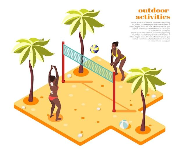 Kompozycja izometryczna zajęć na świeżym powietrzu z dwiema dziewczynami w strojach kąpielowych grających w siatkówkę plażową na południowym, piaszczystym wybrzeżu