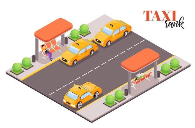 Kompozycja izometrycznego przystanku taksówek miejskich z tekstem i kawałkiem ulicy z taksówkami i ludźmi