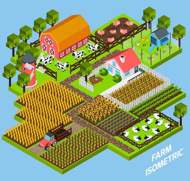 Kompozycja izometrycznych bloków kompleksu farmy