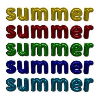 Kompozycja jasnych kolorowych napisów lato