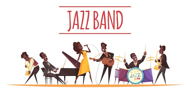 Kompozycja jazzowa z płaskimi postaciami w stylu kreskówek muzyków afrykańskich z instrumentami i tekstem