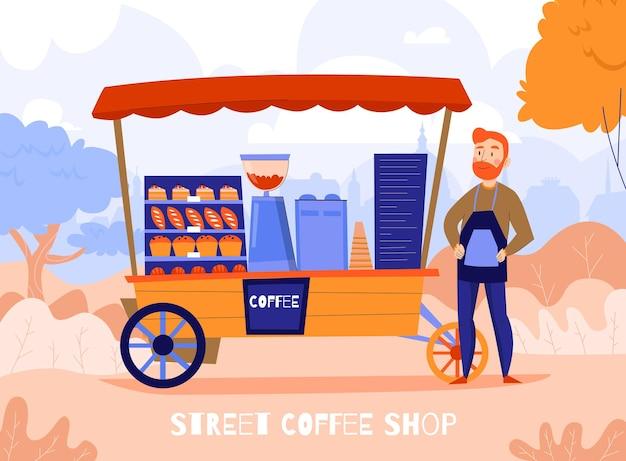 Kompozycja kawowa sprzedawców z zewnętrznym jesiennym krajobrazem i mobilną jednostką z ekspresem do kawy i postacią baristy
