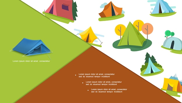 Kompozycja kolorowych namiotów turystycznych z różnymi drzewami w płaski na białym tle