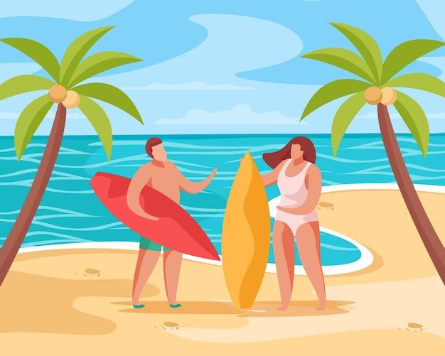 Kompozycja koncepcji letniej imprezy z tropikalną scenerią palm na plaży z ilustracjami ludzi i desek surfingowych