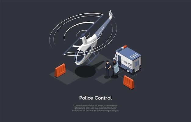 Kompozycja koncepcyjna kontroli policyjnej.
