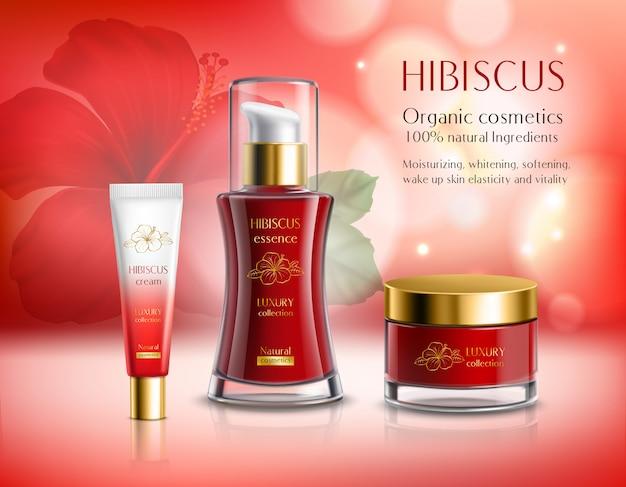 Kompozycja kosmetyków z serii hibiscus