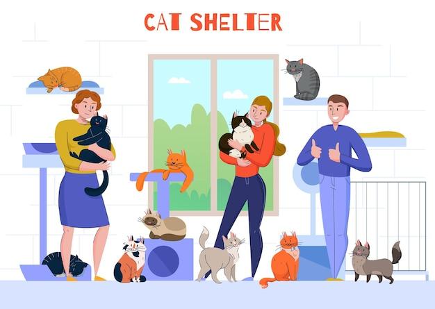 Kompozycja kotów ze schroniska dla zwierząt z widokiem na wnętrze postaci ludzi trzymających koty w ramionach z ilustracją tekstową
