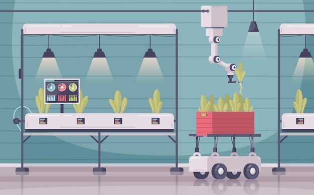 Kompozycja kreskówek o inteligentnym rolnictwie ze scenerią wewnętrzną i szafkami z czujnikami na roślinach