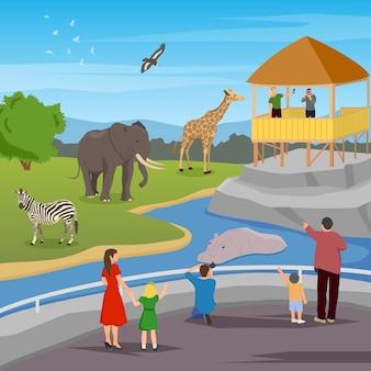 Kompozycja kreskówka płaskie zoo