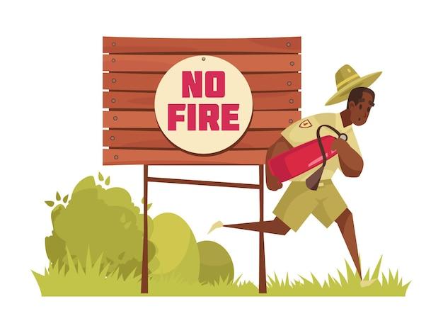 Kompozycja kreskówkowa z męskim strażnikiem leśnym biegnącym, by ugasić pożar