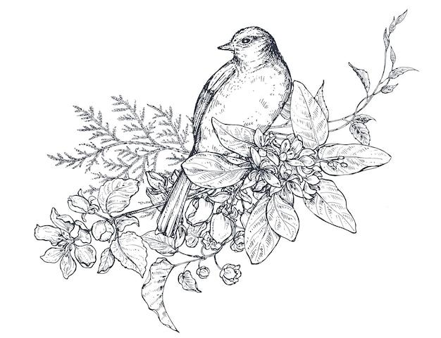 Kompozycja kwiatowa. bukiet z ręcznie rysowane kwiaty, gałęzie kwiatowe, liście i ptak. ilustracja wektorowa monochromatyczne w stylu szkicu.
