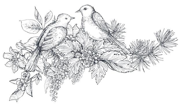 Kompozycja kwiatowa. bukiet z ręcznie rysowane kwiaty, gałęzie kwiatowe, liście i ptaki. ilustracja wektorowa monochromatyczne w stylu szkicu.