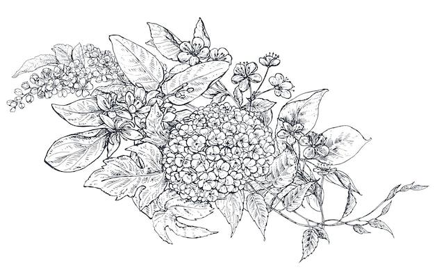 Kompozycja kwiatowa. bukiet z ręcznie rysowane kwiaty, gałęzie kwiatowe, liście. ilustracja wektorowa monochromatyczne w stylu szkicu.