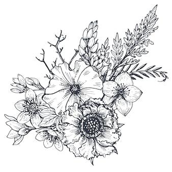 Kompozycja kwiatowa. bukiet z ręcznie rysowane kwiaty i rośliny. monochromia