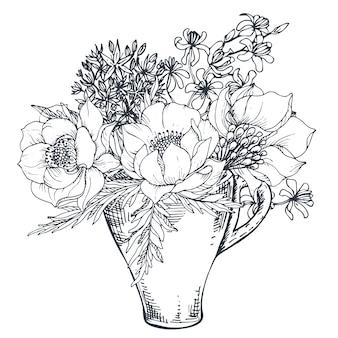 Kompozycja kwiatowa. bukiet z ręcznie rysowane kwiaty i rośliny w filiżance. monochromatyczna ilustracja w stylu szkicu.
