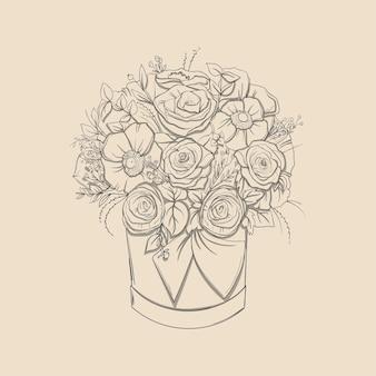 Kompozycja kwiatowa. bukiet z ręcznie rysowane kwiaty i rośliny w koszu. ilustracje wektorowe monochromatyczne w stylu szkicu.