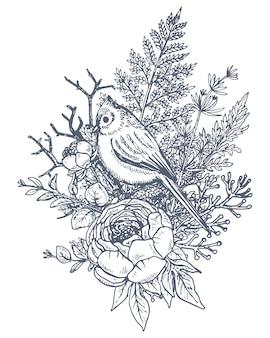 Kompozycja kwiatowa. bukiet z ręcznie rysowane kwiaty, rośliny i ptak. monochromatyczna ilustracja w stylu szkicu.