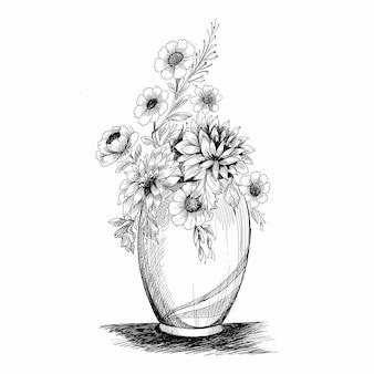 Kompozycja kwiatowa. bukiet z ręcznie rysowane wiosennych kwiatów i roślin