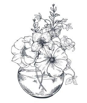 Kompozycja kwiatowa. bukiety z ręcznie rysowanymi kwiatami i roślinami w słoiku.