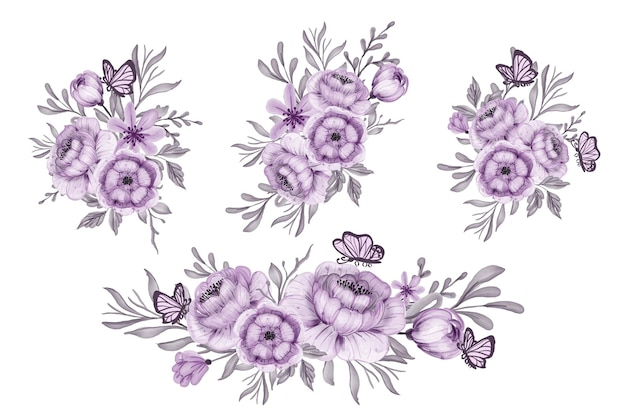 Kompozycja kwiatowa i bukiet pięknych fioletowych kwiatów