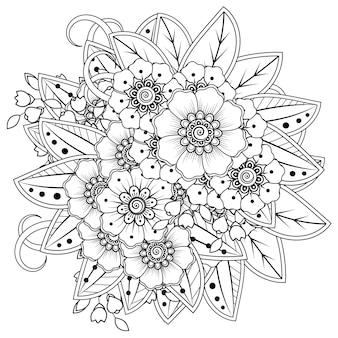 Kompozycja kwiatowa mehndi. dekoracyjny ornament. zarys strony rysować kolorowanki.