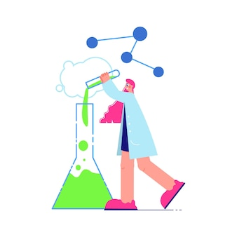 Kompozycja laboratorium naukowego z postacią naukowca wlewającego płyn do kolby