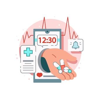 Kompozycja leku online ze zdjęciem smartfona z aplikacją przypominającą o przyjmowaniu tabletek