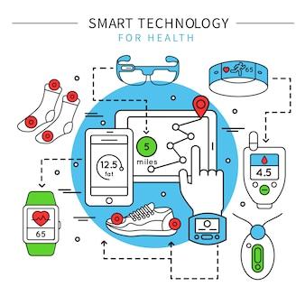 Kompozycja linii inteligentnej technologii