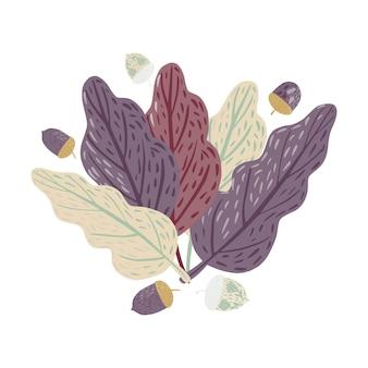 Kompozycja liście i żołędzie na białym tle. skandynawska botanika ręcznie rysowane w stylu doodle ilustracji wektorowych.