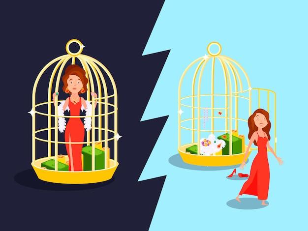 Kompozycja małżeńska wygoda złota klatka z nieszczęśliwą kreskówką kobiety
