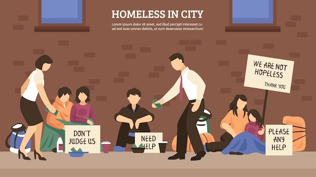 Kompozycja miasta bezdomnych ludzi