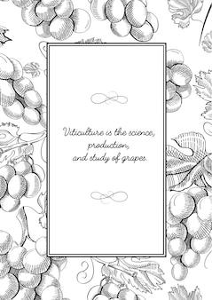 Kompozycja monochromatycznej kwadratowej ramki z kiściami winogron