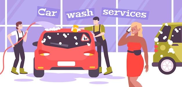 Kompozycja myjni samochodowej z tekstem i scenerią wewnętrzną z myjniami samochodowymi płaskimi postaciami i ilustracjami samochodów