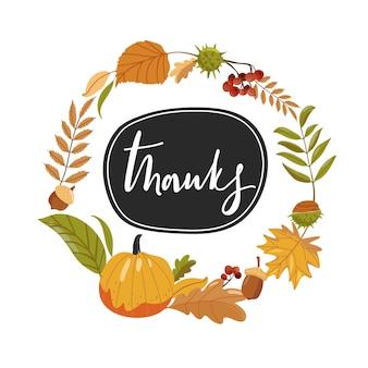 Kompozycja na święto dziękczynienia. jesienne liście, dynia i napis.