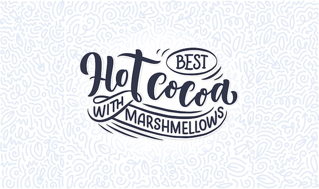 Kompozycja napis gorący ręcznie kakao.