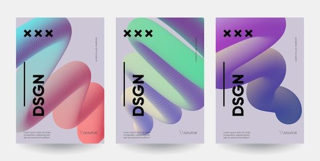 Kompozycja nowoczesnych kształtów gradientu. zestaw abstrakcyjnych plakatów.