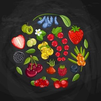 Kompozycja okrągłego kształtu świeżej jagody