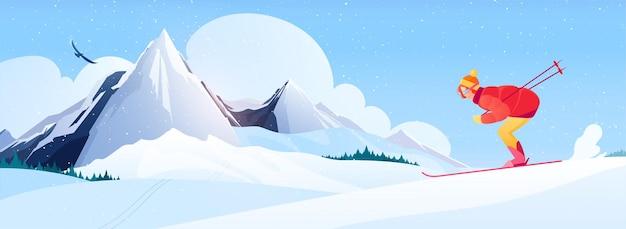Kompozycja ośrodka narciarskiego z płaskimi symbolami narciarstwa alpejskiego