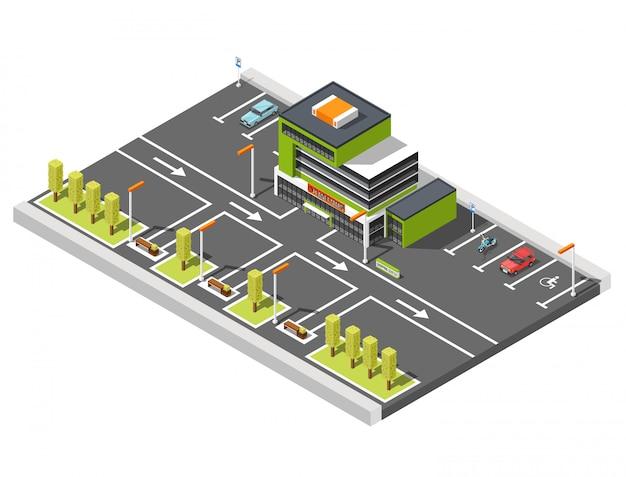 Kompozycja parkingowa centrum handlowego