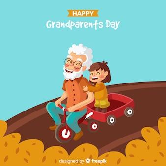 Kompozycja piękny dzień dziadków z płaskiej konstrukcji