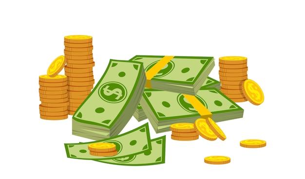 Kompozycja pieniędzy stos monety stos kreskówka stylu. kupie złote monety, kasyno, znak waluty banku