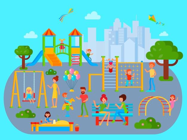 Kompozycja plac zabaw z płaskiego miejskiego krajobrazu miejskiego