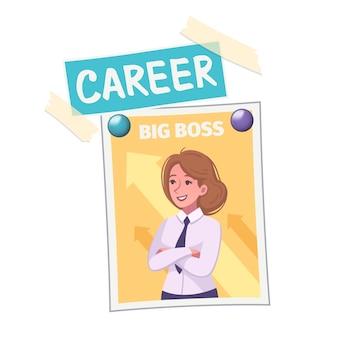 Kompozycja planszy wizji ze zdjęciem kobiety z dużym szefem