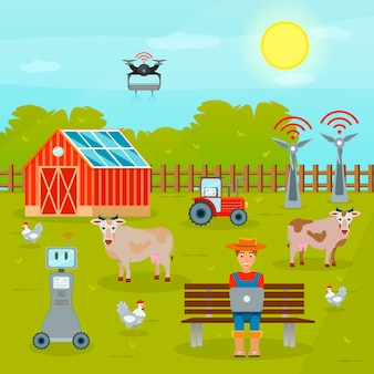 Kompozycja płaska smart farming